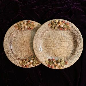 NWOT Set 2 Fall Autumn Serving Plates GORGEOUS!